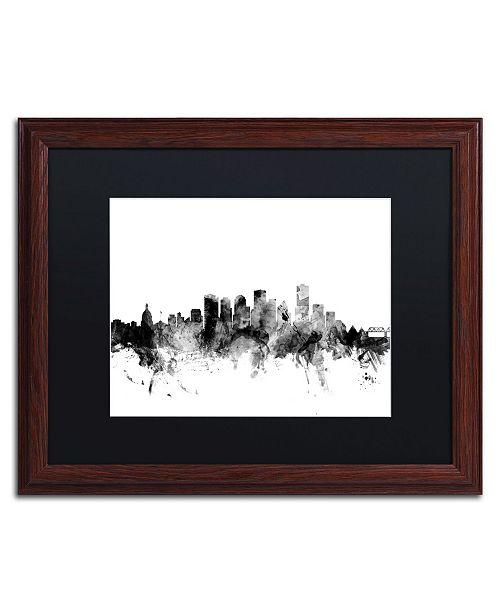 "Trademark Global Michael Tompsett 'Edmonton Canada Skyline B&W' Matted Framed Art - 16"" x 20"""