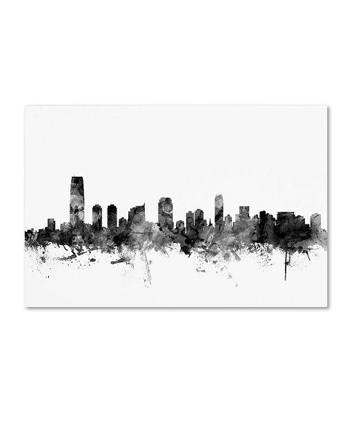 "Trademark Global Michael Tompsett 'Jersey City NJ Skyline B&W' Canvas Art - 16"" x 24"""