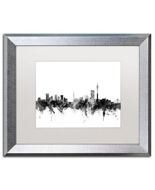 """Trademark Global Michael Tompsett 'Johannesburg Skyline B&W' Matted Framed Art - 16"""" x 20"""""""