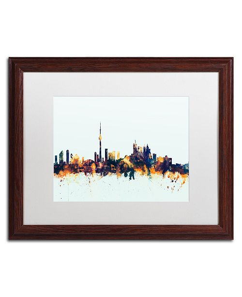 "Trademark Global Michael Tompsett 'Toronto Canada Skyline Blue' Matted Framed Art - 16"" x 20"""