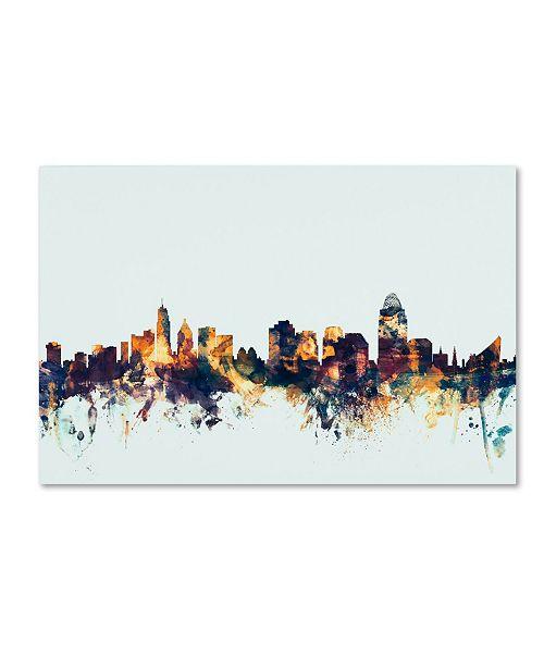 "Trademark Global Michael Tompsett 'Cincinnati Ohio Skyline Blue' Canvas Art - 16"" x 24"""