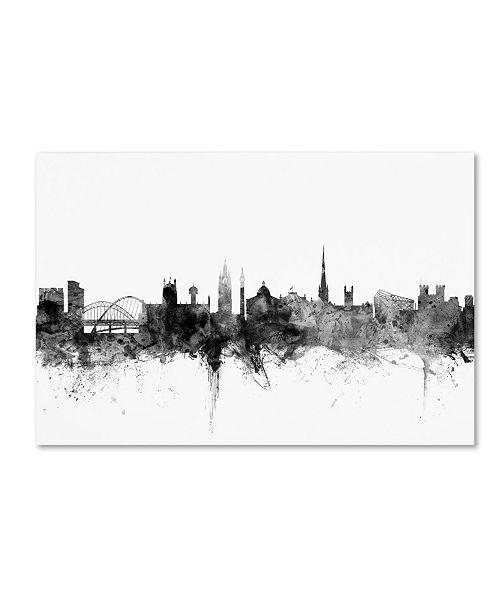 "Trademark Global Michael Tompsett 'Newcastle England Skyline B&W' Canvas Art - 16"" x 24"""