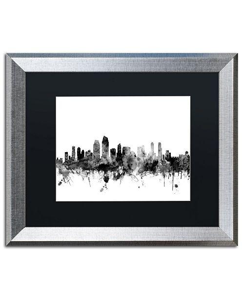 "Trademark Global Michael Tompsett 'San Diego CA Skyline B&W' Matted Framed Art - 16"" x 20"""