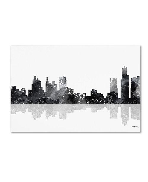 "Trademark Global Marlene Watson 'Detroit Michigan Skyline BG-1' Canvas Art - 16"" x 24"""