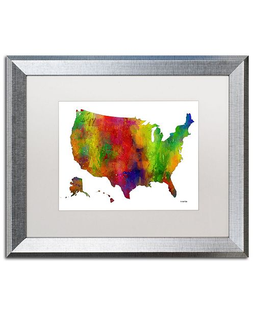 """Trademark Global Marlene Watson 'USA Map Clr-1' Matted Framed Art - 16"""" x 20"""""""