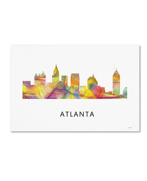 "Trademark Global Marlene Watson 'Atlanta Georgia Skyline WB-1' Canvas Art - 16"" x 24"""
