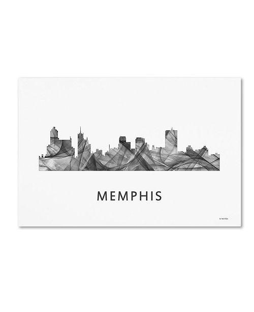"Trademark Global Marlene Watson 'Memphis Tennessee Skyline WB-BW' Canvas Art - 16"" x 24"""