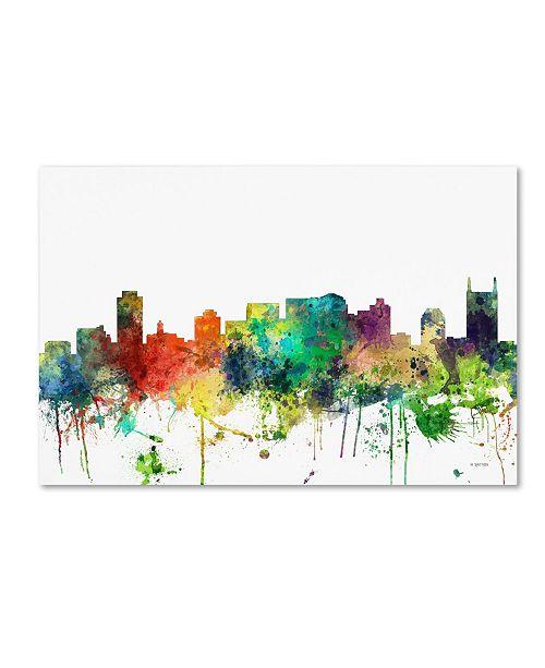 "Trademark Global Marlene Watson 'Nashville Tennessee Skyline SP' Canvas Art - 16"" x 24"""