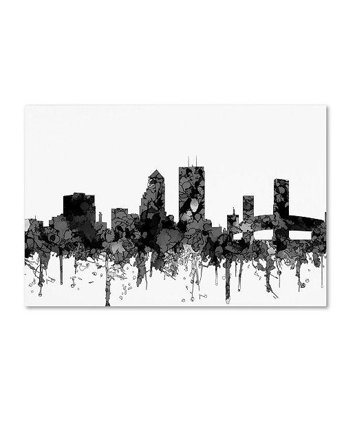 "Trademark Global Marlene Watson 'Jacksonville Florida Skyline BW' Canvas Art - 16"" x 24"""
