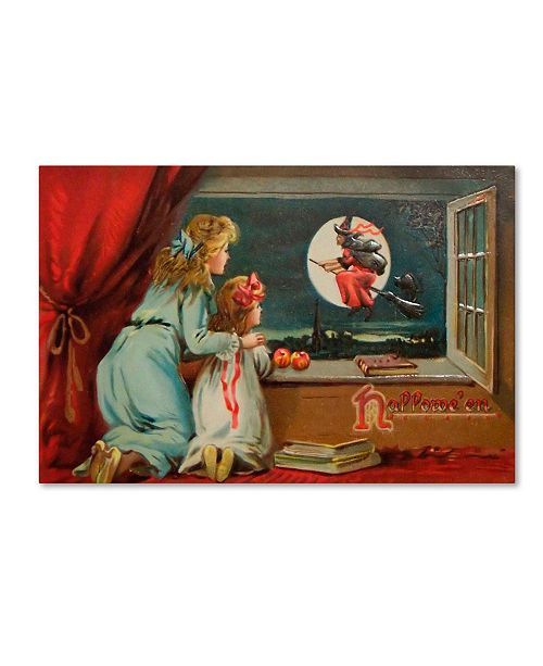 """Trademark Global Vintage Apple Collection 'Halloween Out The Window' Canvas Art - 16"""" x 24"""""""