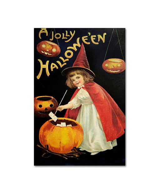 """Trademark Global Vintage Apple Collection 'Little Red Halloween Witch' Canvas Art - 16"""" x 24"""""""