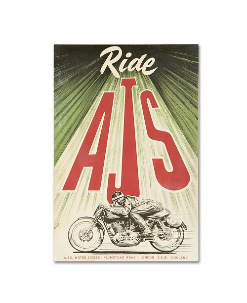 "Trademark Global Vintage Apple Collection 'AJS Motorcycle' Canvas Art - 16"" x 24"""