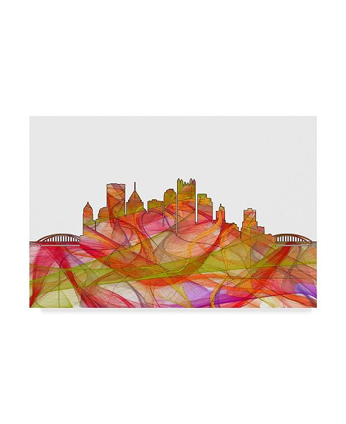 "Trademark Global Marlene Watson 'Pittsburgh Pennsylvania Swirl' Canvas Art - 16"" x 24"""