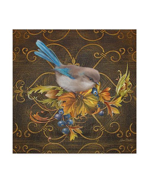 """Trademark Global Jean Plout 'Blue Bird On Demask' Canvas Art - 18"""" x 18"""""""