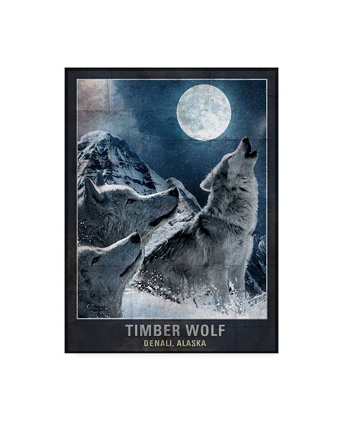 "Trademark Global Old Red Truck 'Wolf Moon' Canvas Art - 18"" x 24"""