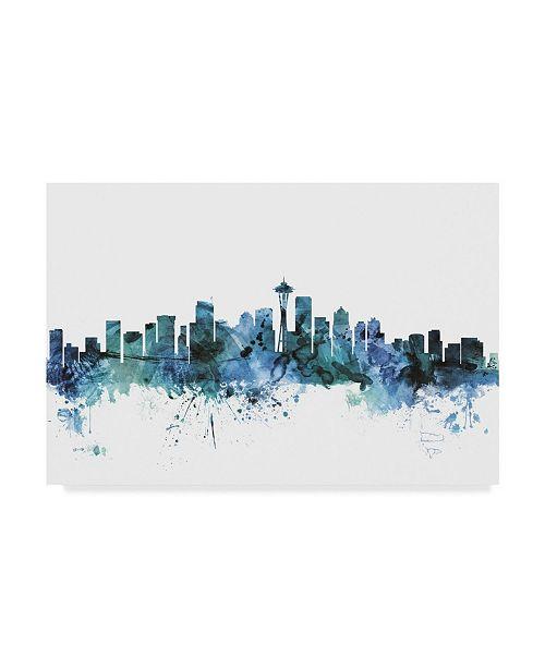 "Trademark Global Michael Tompsett 'Seattle Washington Blue Teal Skyline' Canvas Art - 19"" x 12"""