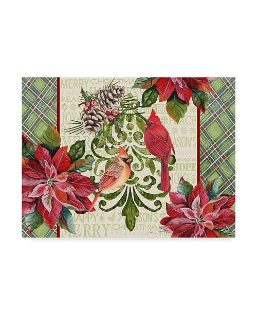 """Trademark Global Jean Plout 'Holiday Cardinals 3' Canvas Art - 24"""" x 18"""""""