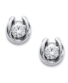 Sirena Bezel-Set Diamond Stud Earrings in 14k White Gold (1/7 ct. t.w.)