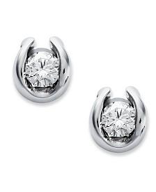 Sirena Bezel-Set Diamond Stud Earrings in 14k White Gold (1/7 ct. t.w.)
