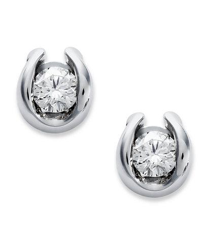 Sirena Bezel Set Diamond Stud Earrings In 14k White Gold 1 7 Ct