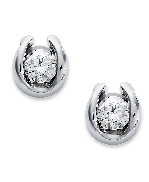 diamond in stud set earrings si g bezel gold cttw solitaire white carys k jp