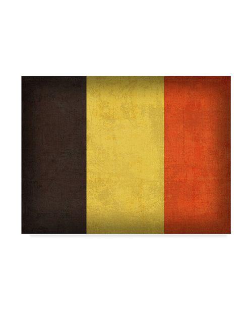 "Trademark Global Red Atlas Designs 'Belgium Distressed Flag' Canvas Art - 19"" x 14"""