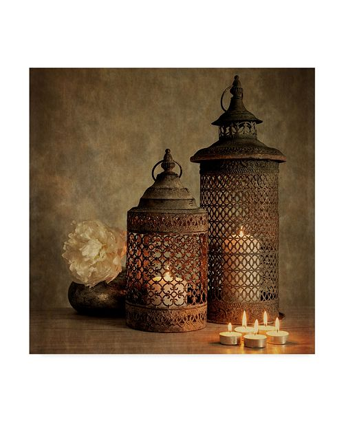 "Trademark Global Tom Quartermaine '2 Lanterns With Flower' Canvas Art - 18"" x 18"""