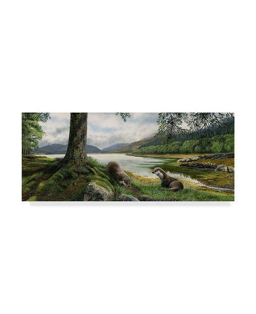 "Trademark Global Nigel Artingstall 'Otters' Canvas Art - 19"" x 8"""