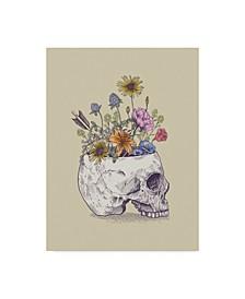 "Rachel Caldwell 'Half Skull Flowers' Canvas Art - 14"" x 19"""