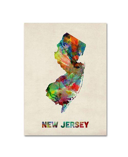 """Trademark Global Michael Tompsett 'New Jersey Map' Canvas Art - 19"""" x 14"""""""