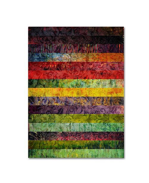 "Trademark Global Michelle Calkins 'Brocade and Fifteen Stripes 3' Canvas Art - 19"" x 14"""