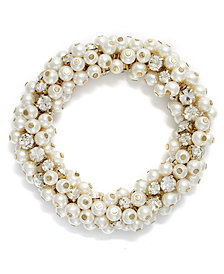 Charter Club Glass Pearl and Bead Cluster Bracelet