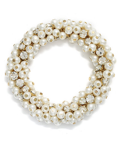 Charter Club Gold-Tone Glass Pearl and Bead Cluster Bracelet