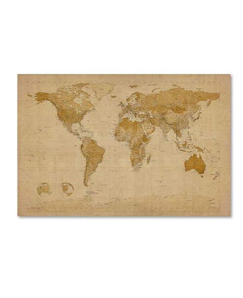 "Trademark Global Michael Tompsett 'Antique World Map' Canvas Art - 18"" x 28"""