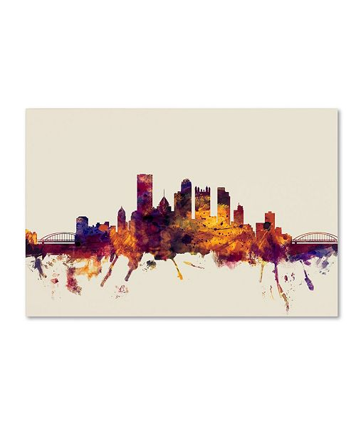 "Trademark Global Michael Tompsett 'Pittsburgh Skyline IV' Canvas Art - 16"" x 24"""
