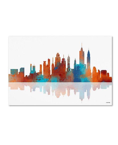 "Trademark Global Marlene Watson 'New York New York Skyline III' Canvas Art - 16"" x 24"""