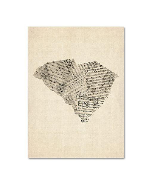 "Trademark Global Michael Tompsett 'Old Sheet Music Map of South Carolina' Canvas Art - 18"" x 24"""