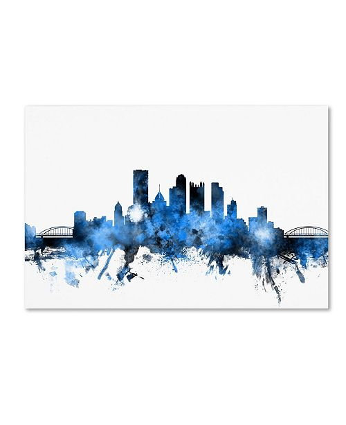 "Trademark Global Michael Tompsett 'Pittsburgh Pennsylvania Skyline II' Canvas Art - 16"" x 24"""