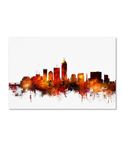 "Trademark Global Michael Tompsett 'Indianapolis Indiana Skyline II' Canvas Art - 16"" x 24"""