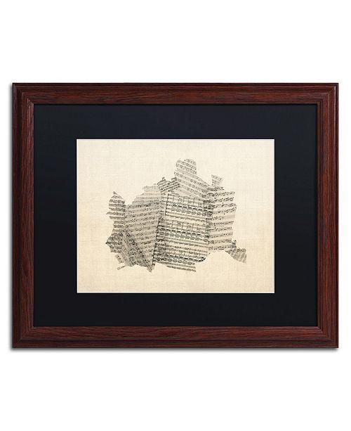 """Trademark Global Michael Tompsett 'Old Sheet Music Map of Vienna' Matted Framed Art - 16"""" x 20"""""""
