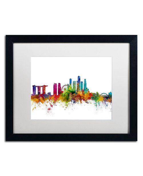 """Trademark Global Michael Tompsett 'Singapore Skyline II' Matted Framed Art - 16"""" x 20"""""""