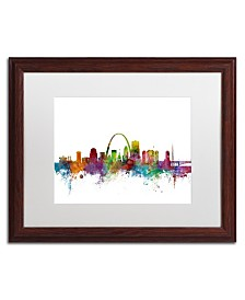 "Michael Tompsett 'St. Louis Missouri Skyline' Matted Framed Art - 16"" x 20"""