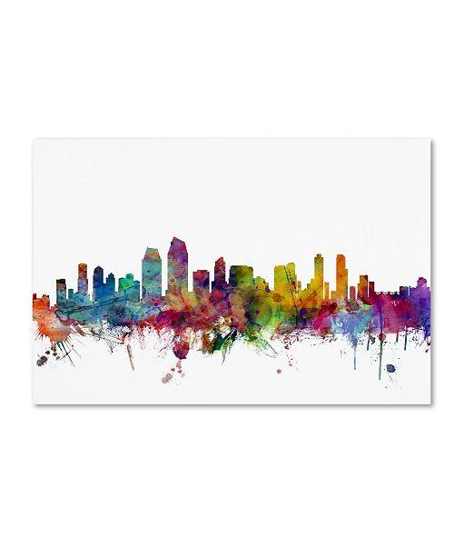 "Trademark Global Michael Tompsett 'San Diego California Skyline' Canvas Art - 18"" x 28"""