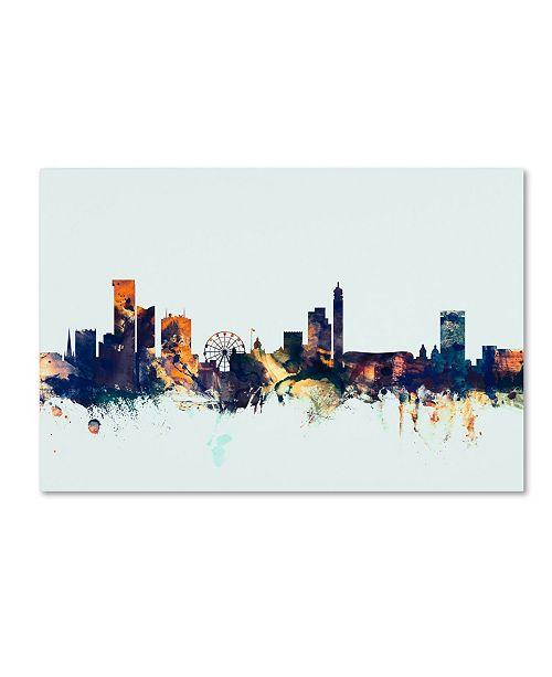 "Trademark Global Michael Tompsett 'Birmingham Skyline Blue' Canvas Art - 22"" x 32"""