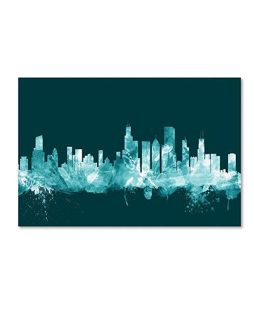 "Trademark Global Michael Tompsett 'Chicago Illinois Skyline Teal' Canvas Art - 22"" x 32"""