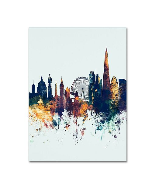 "Trademark Global Michael Tompsett 'London Skyline Tall Blue' Canvas Art - 24"" x 32"""