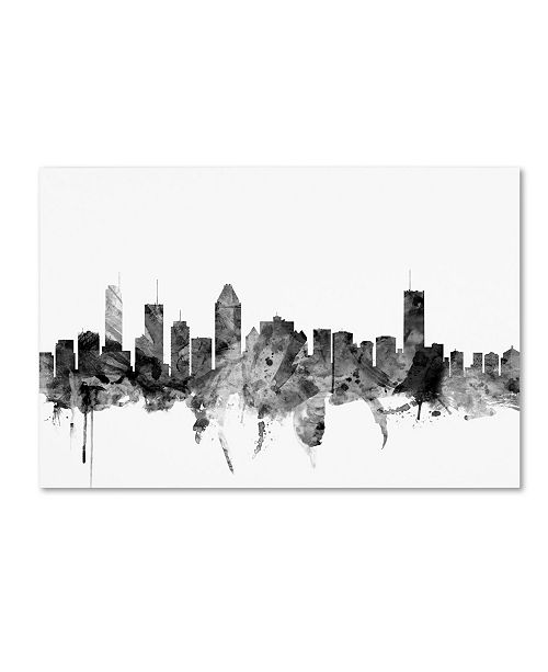 "Trademark Global Michael Tompsett 'Montreal Canada Skyline B&W' Canvas Art - 22"" x 32"""