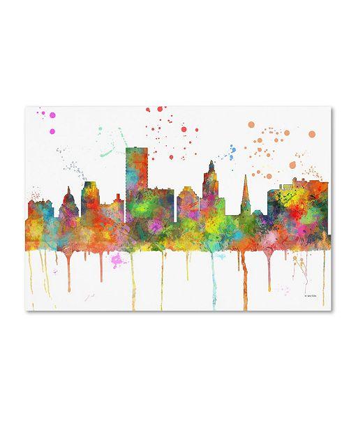 "Trademark Global Marlene Watson 'Providence RI Skyline Mclr-1' Canvas Art - 22"" x 32"""