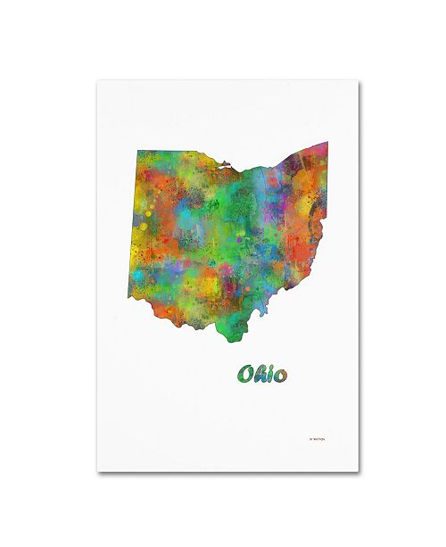 "Trademark Global Marlene Watson 'Ohio State Map-1' Canvas Art - 30"" x 47"""