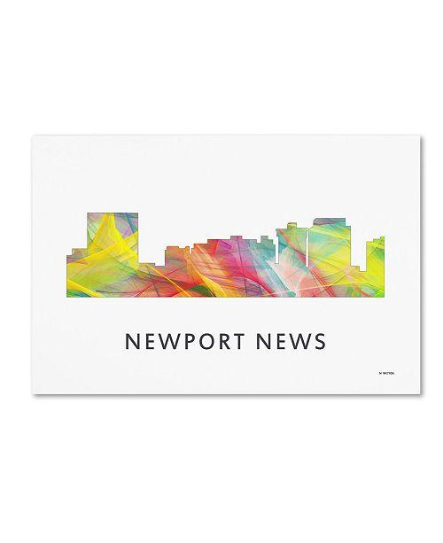 "Trademark Global Marlene Watson 'Newport News Virginia Skyline WB-1' Canvas Art - 30"" x 47"""